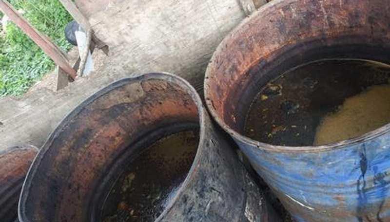 Ocupan 19 tanques y material para elaborar clerén en un patio en ...
